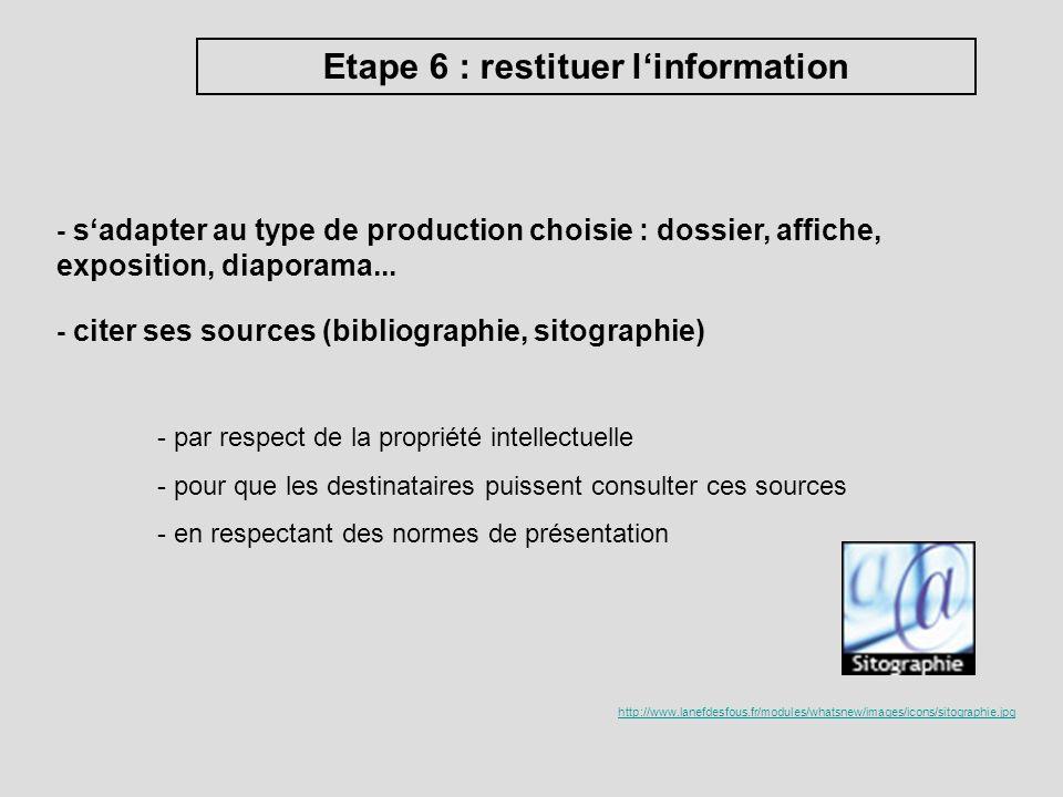 Etape 6 : restituer linformation - sadapter au type de production choisie : dossier, affiche, exposition, diaporama... - citer ses sources (bibliograp