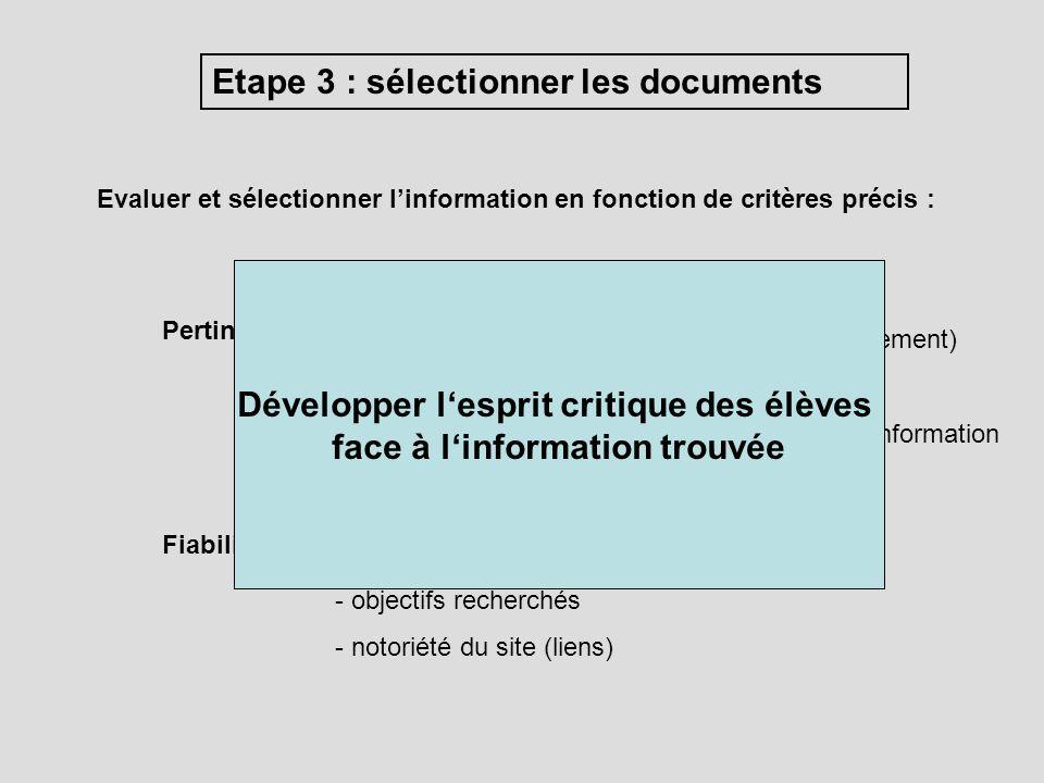 Evaluer et sélectionner linformation en fonction de critères précis : Etape 3 : sélectionner les documents Pertinence : - réponse au besoin dinformati