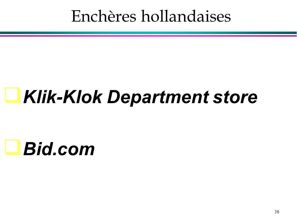 36 Enchères hollandaises Klik-Klok Department store Bid.com