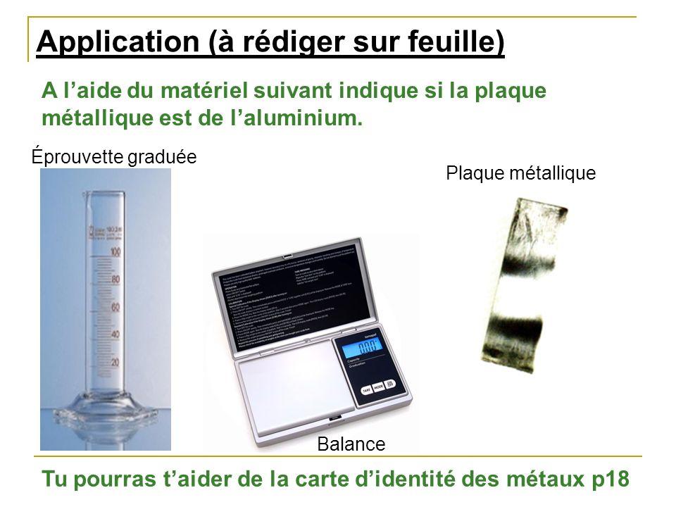 Application (à rédiger sur feuille) A laide du matériel suivant indique si la plaque métallique est de laluminium. Tu pourras taider de la carte diden