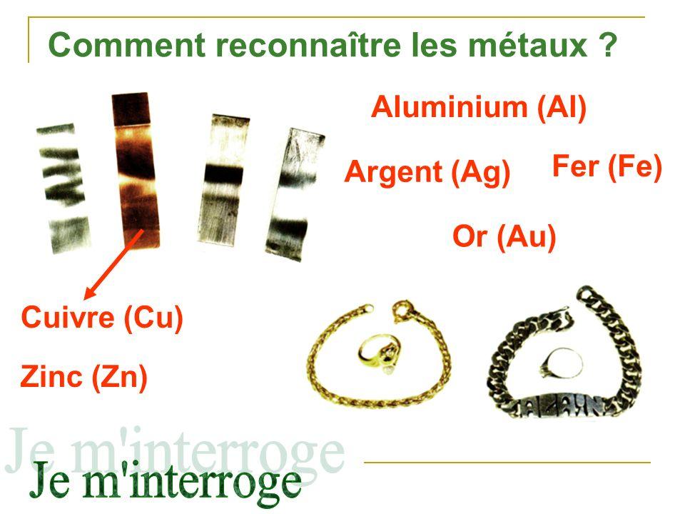 Comment reconnaître les métaux ? Cuivre (Cu) Aluminium (Al) Fer (Fe) Zinc (Zn) Or (Au) Argent (Ag)