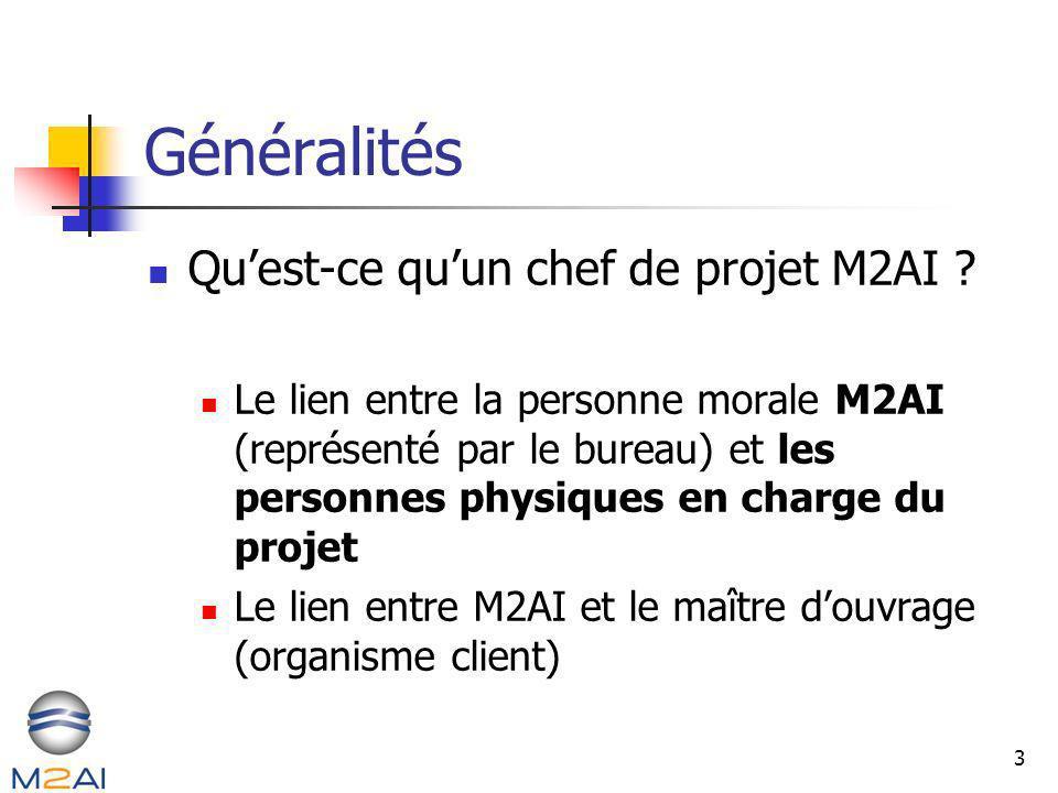 3 Généralités Quest-ce quun chef de projet M2AI ? Le lien entre la personne morale M2AI (représenté par le bureau) et les personnes physiques en charg
