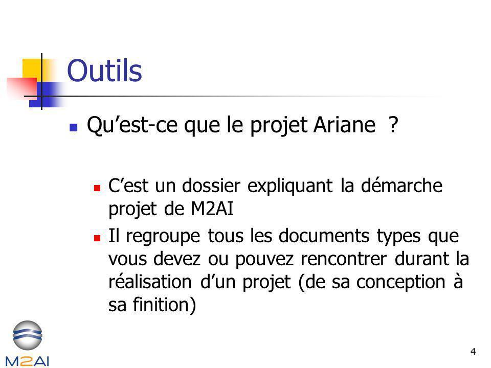 4 Outils Quest-ce que le projet Ariane ? Cest un dossier expliquant la démarche projet de M2AI Il regroupe tous les documents types que vous devez ou
