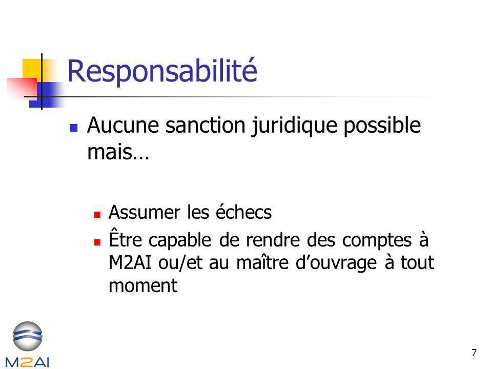 7 Responsabilité Aucune sanction juridique possible mais… Assumer les échecs Être capable de rendre des comptes à M2AI ou/et au maître douvrage à tout