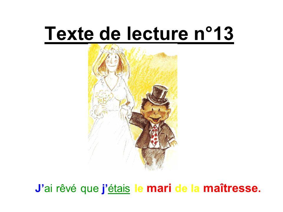 Texte de lecture n°13 Jai rêvé que jétais le mari de la maîtresse.