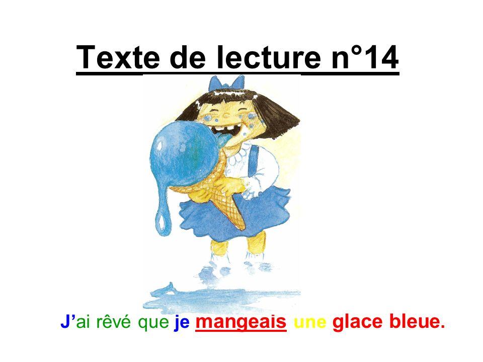 Texte de lecture n°14 Jai rêvé que je mangeais une glace bleue.