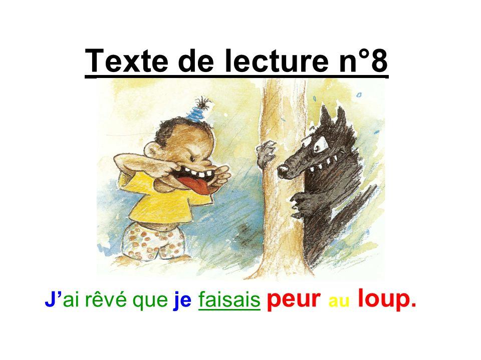 Texte de lecture n°8 Jai rêvé que je faisais peur au loup.