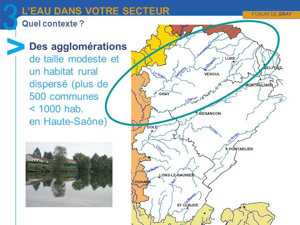 Quel contexte ? Des agglomérations de taille modeste et un habitat rural dispersé (plus de 500 communes < 1000 hab. en Haute-Saône) LEAU DANS VOTRE SE