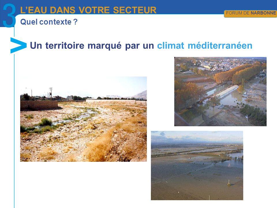 Quel contexte ? LEAU DANS VOTRE SECTEUR FORUM DE NARBONNE Un territoire marqué par un climat méditerranéen