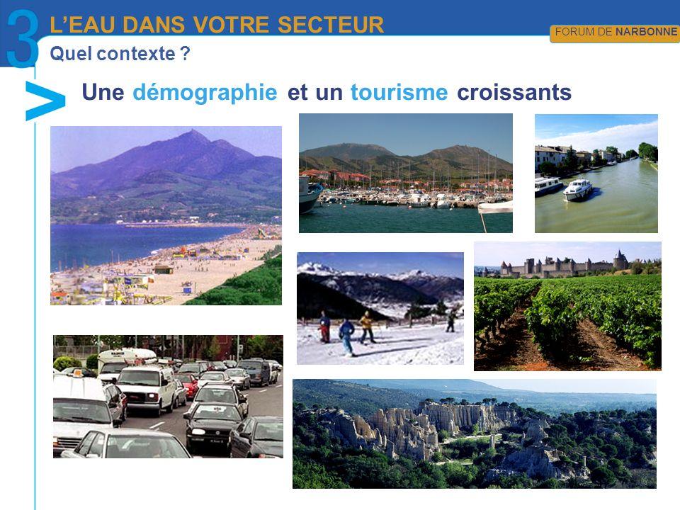 Quel contexte ? Une démographie et un tourisme croissants LEAU DANS VOTRE SECTEUR FORUM DE NARBONNE