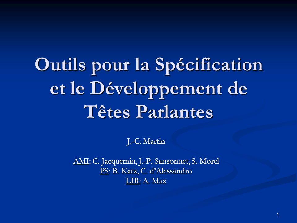 1 Outils pour la Spécification et le Développement de Têtes Parlantes J.-C. Martin AMI: C. Jacquemin, J.-P. Sansonnet, S. Morel PS: B. Katz, C. dAless