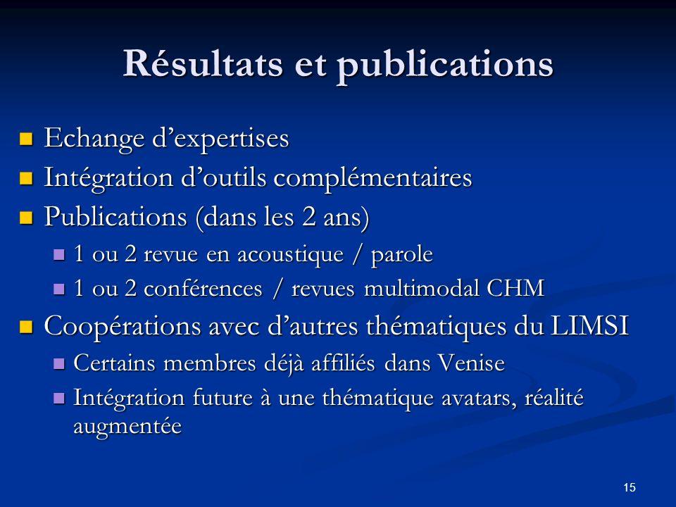 15 Résultats et publications Echange dexpertises Echange dexpertises Intégration doutils complémentaires Intégration doutils complémentaires Publicati