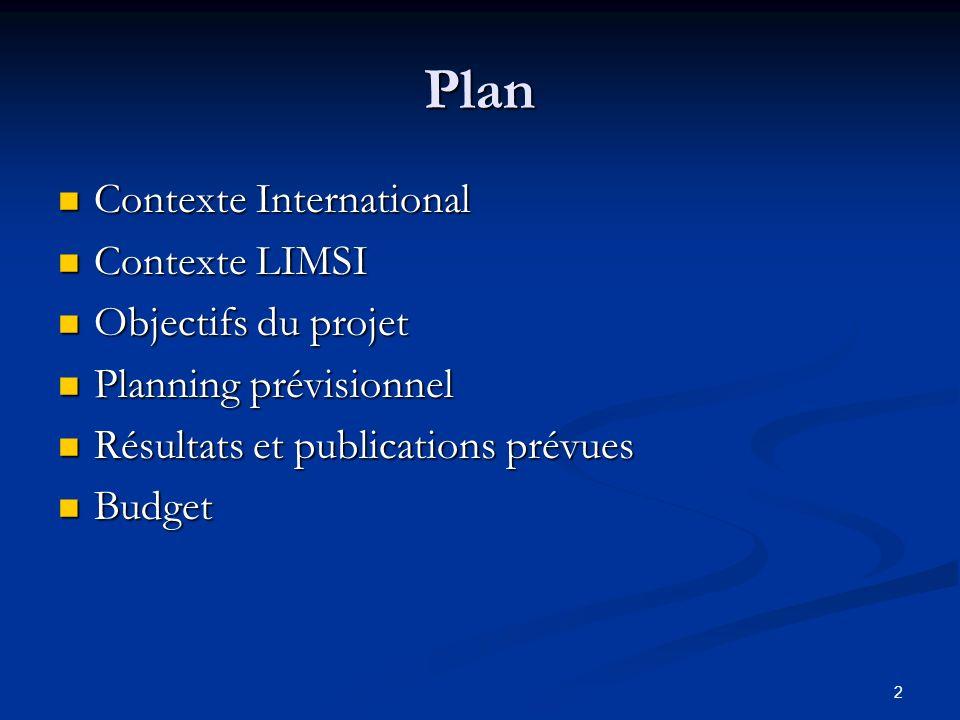 2 Plan Contexte International Contexte International Contexte LIMSI Contexte LIMSI Objectifs du projet Objectifs du projet Planning prévisionnel Plann