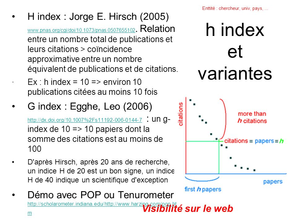 h index et variantes H index : Jorge E. Hirsch (2005) www.pnas.org/cgi/doi/10.1073/pnas.0507655102.