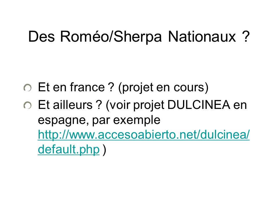 Des Roméo/Sherpa Nationaux . Et en france . (projet en cours) Et ailleurs .