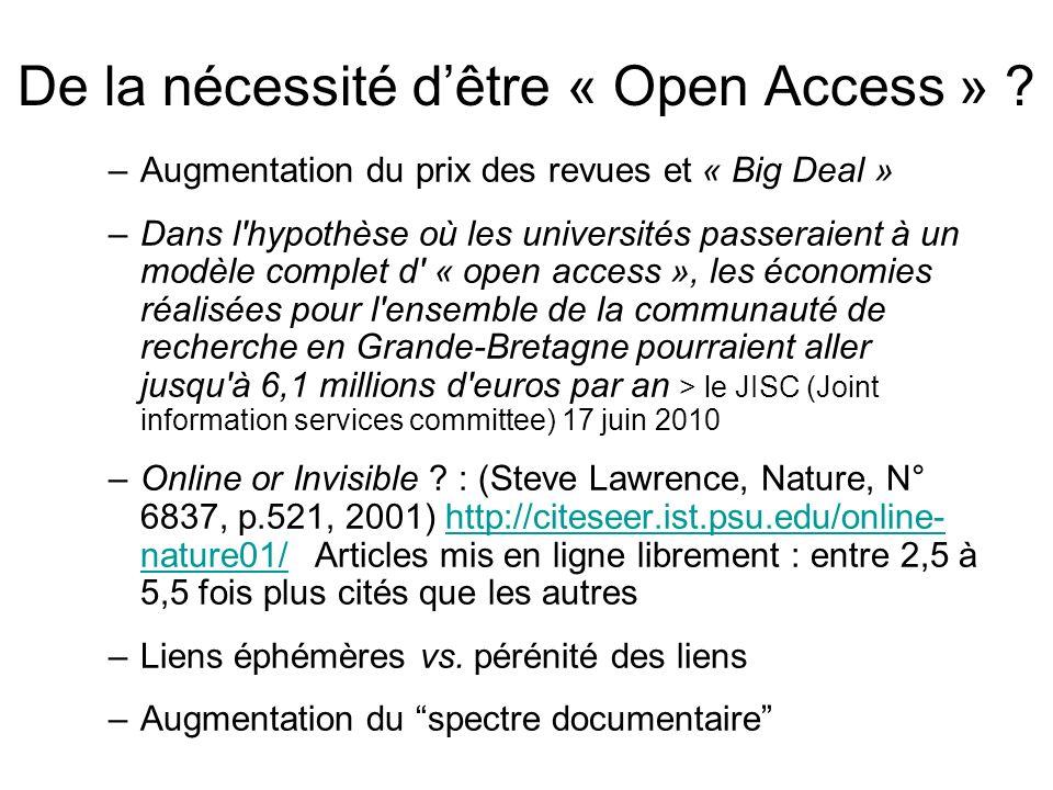 Points nodaux pour LOpen Access Une vitrine de létablissement (Valoriser) Visibilité sur le Scholar Web (Diffuser) Lévaluation de la recherche (Gérer)