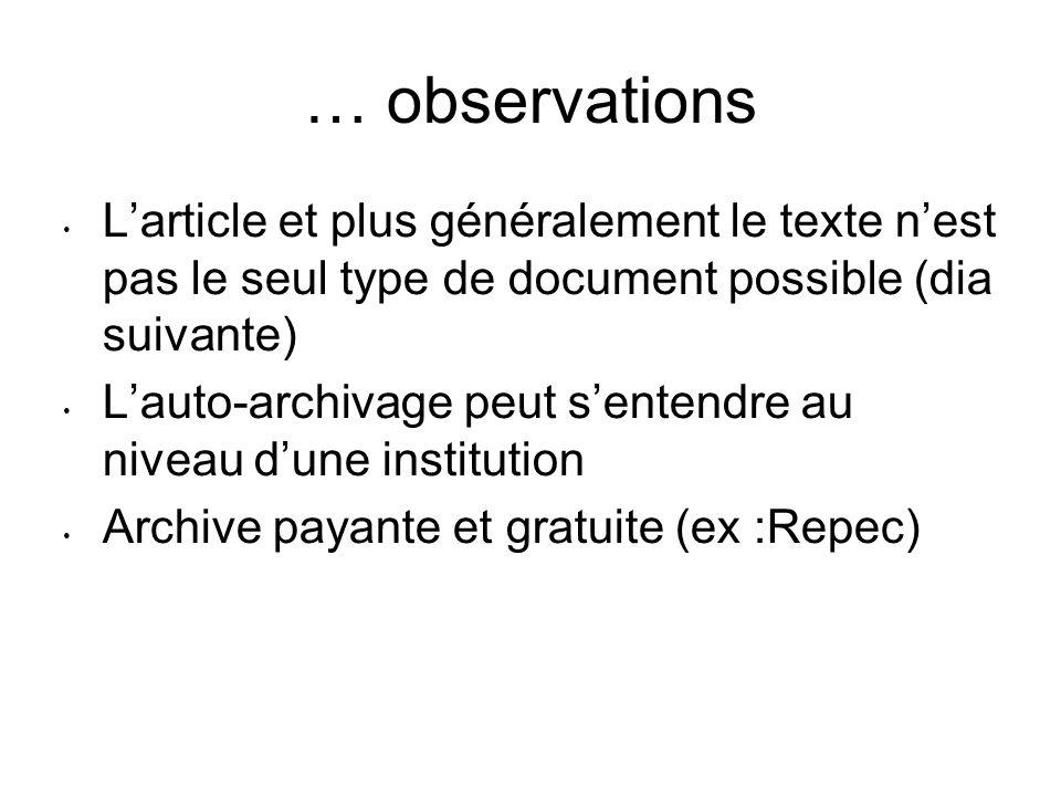 … observations Larticle et plus généralement le texte nest pas le seul type de document possible (dia suivante) Lauto-archivage peut sentendre au nive