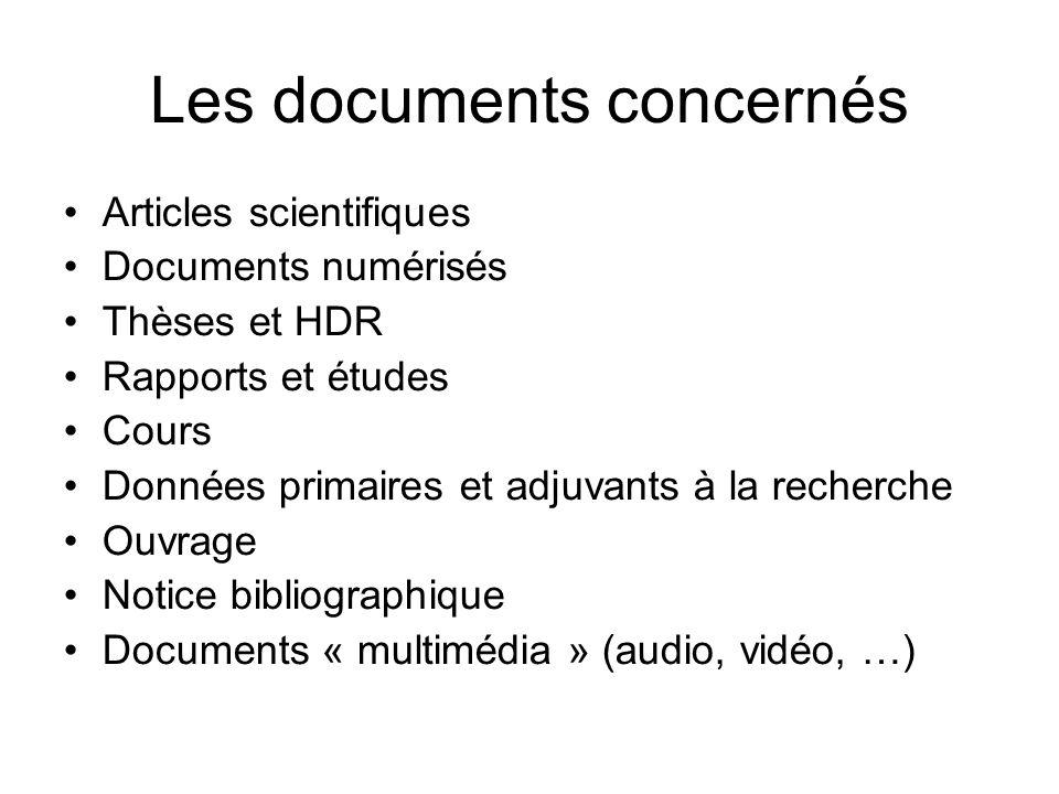 Les documents concernés Articles scientifiques Documents numérisés Thèses et HDR Rapports et études Cours Données primaires et adjuvants à la recherch