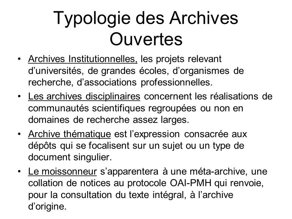 Typologie des Archives Ouvertes Archives Institutionnelles, les projets relevant duniversités, de grandes écoles, dorganismes de recherche, dassociati