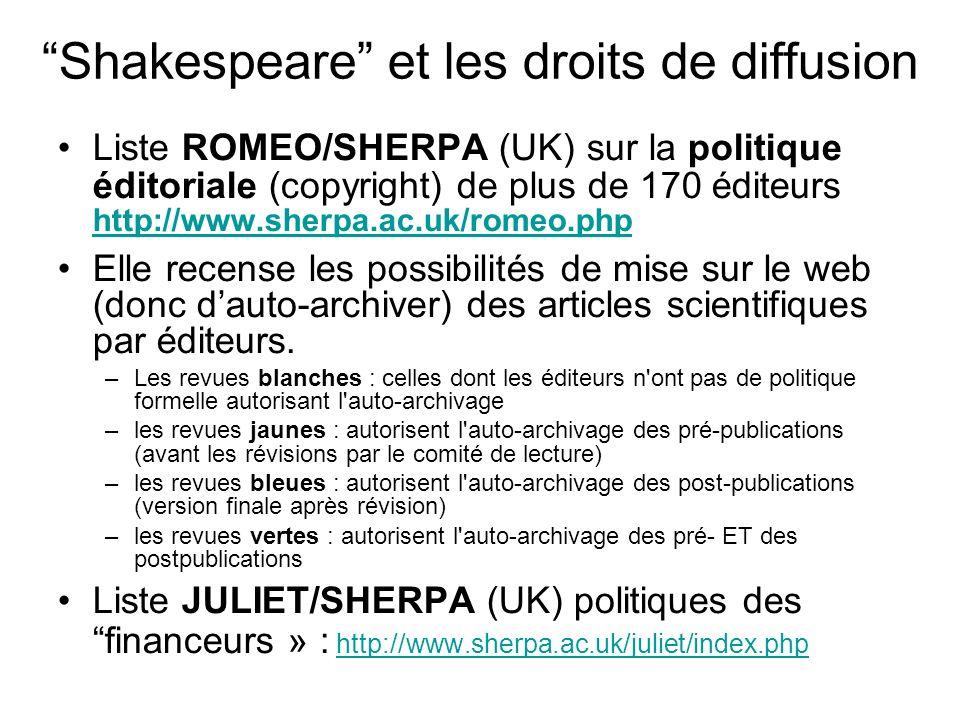 Shakespeare et les droits de diffusion Liste ROMEO/SHERPA (UK) sur la politique éditoriale (copyright) de plus de 170 éditeurs http://www.sherpa.ac.uk