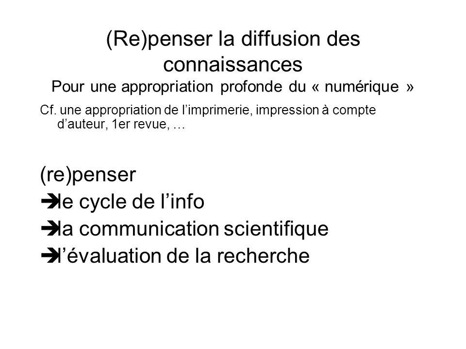 (Re)penser la diffusion des connaissances Pour une appropriation profonde du « numérique » Cf. une appropriation de limprimerie, impression à compte d