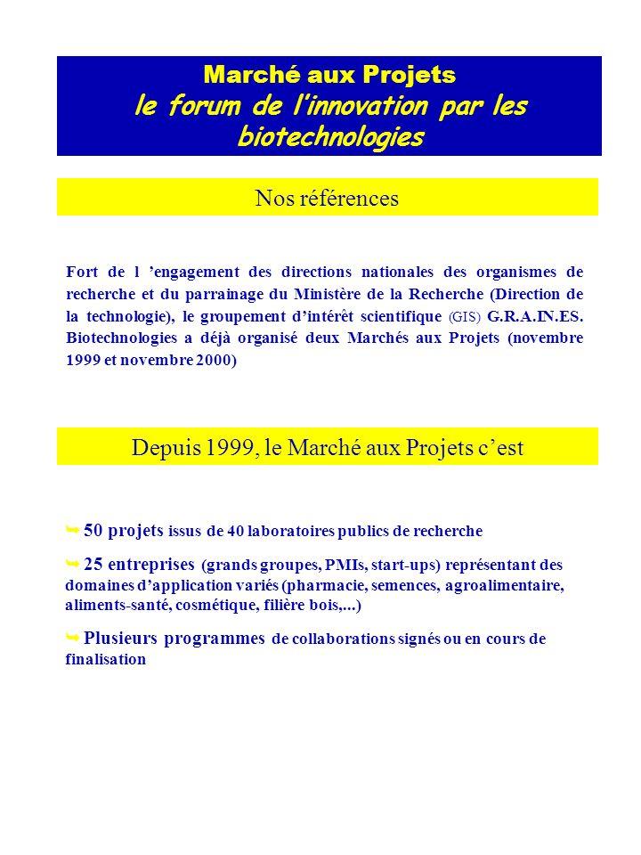 Marché aux Projets le forum de linnovation par les biotechnologies Nos références Fort de l engagement des directions nationales des organismes de recherche et du parrainage du Ministère de la Recherche (Direction de la technologie), le groupement dintérêt scientifique (GIS) G.R.A.IN.ES.