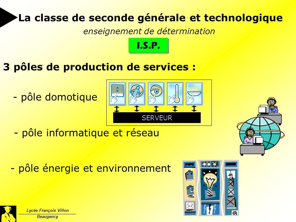 I.S.P. Lycée François Villon Beaugency La classe de seconde générale et technologique enseignement de détermination SERVEUR 3 pôles de production de s