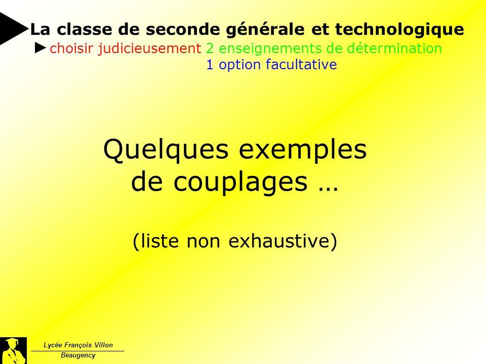 Quelques exemples de couplages … (liste non exhaustive) La classe de seconde générale et technologique Lycée François Villon Beaugency choisir judicie