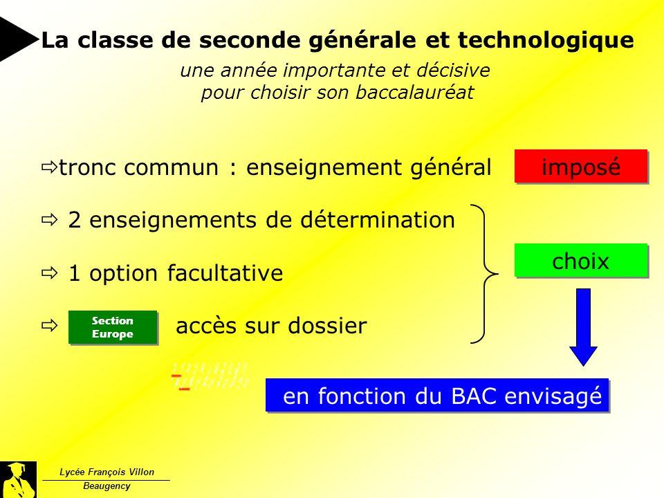 Lycée François Villon Beaugency 23-01-2004 une année importante et décisive pour choisir son baccalauréat tronc commun : enseignement général 2 enseig