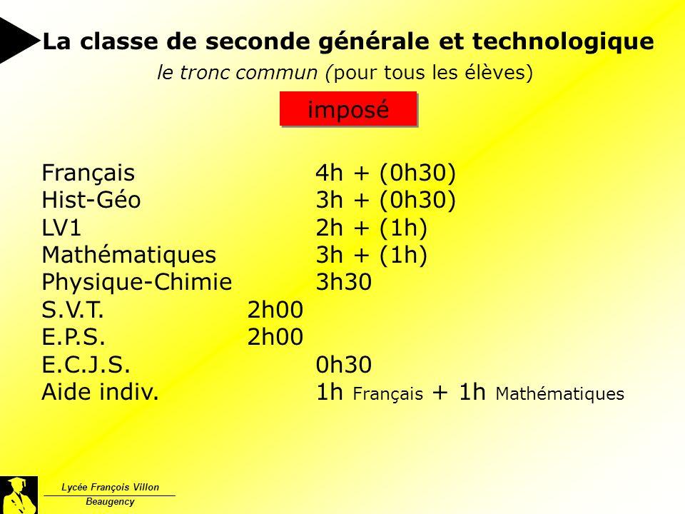 Lycée François Villon Beaugency le tronc commun (pour tous les élèves) Français4h + (0h30) Hist-Géo3h + (0h30) LV12h + (1h) Mathématiques3h + (1h) Phy