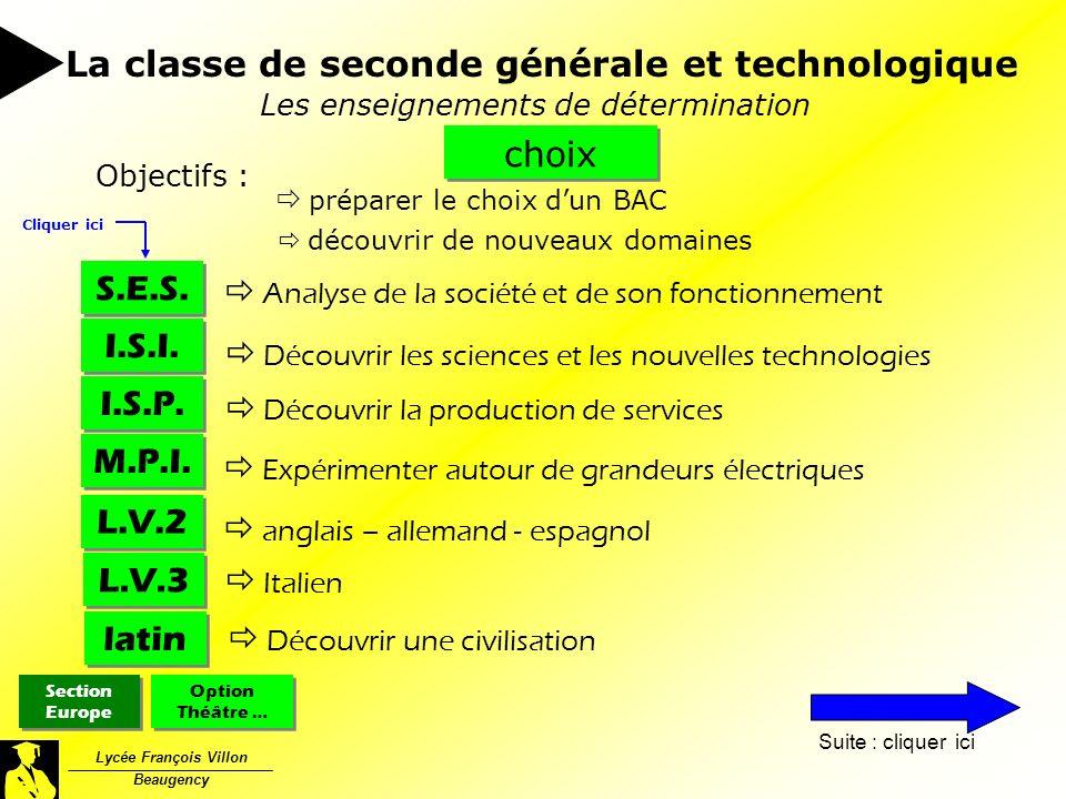 Lycée François Villon Beaugency Les enseignements de détermination choix Objectifs : préparer le choix dun BAC découvrir de nouveaux domaines La class