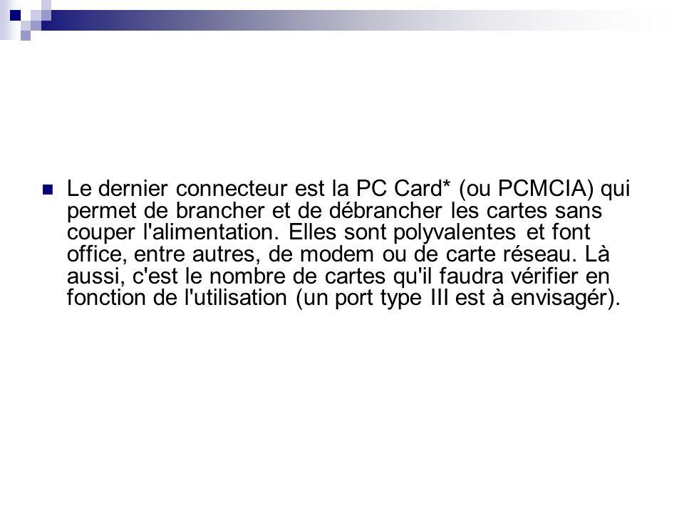Le dernier connecteur est la PC Card* (ou PCMCIA) qui permet de brancher et de débrancher les cartes sans couper l'alimentation. Elles sont polyvalent