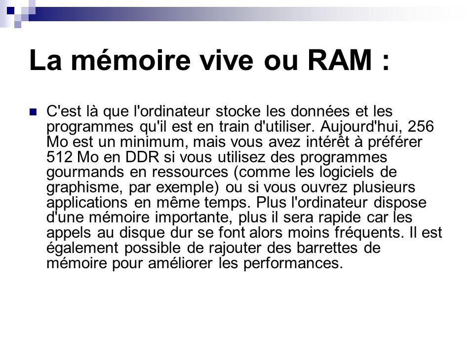 La mémoire vive ou RAM : C'est là que l'ordinateur stocke les données et les programmes qu'il est en train d'utiliser. Aujourd'hui, 256 Mo est un mini