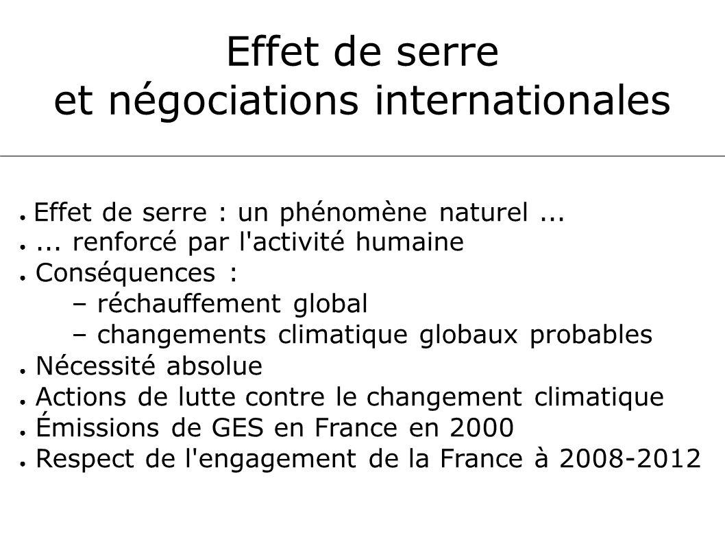 Effet de serre et négociations internationales Effet de serre : un phénomène naturel...... renforcé par l'activité humaine Conséquences : – réchauffem