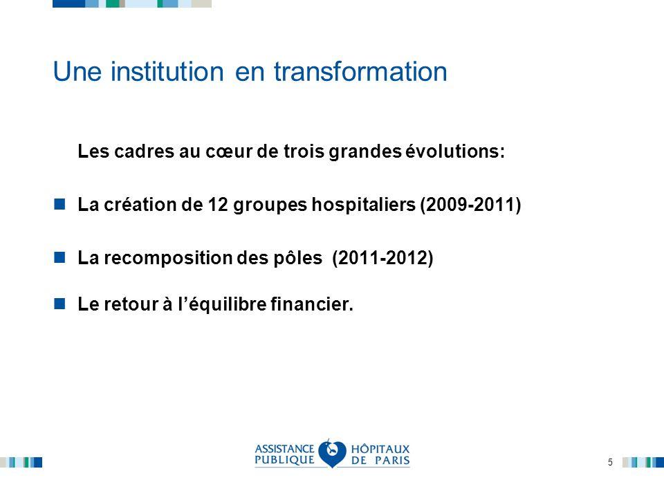 5 Une institution en transformation Les cadres au cœur de trois grandes évolutions: La création de 12 groupes hospitaliers (2009-2011) La recompositio