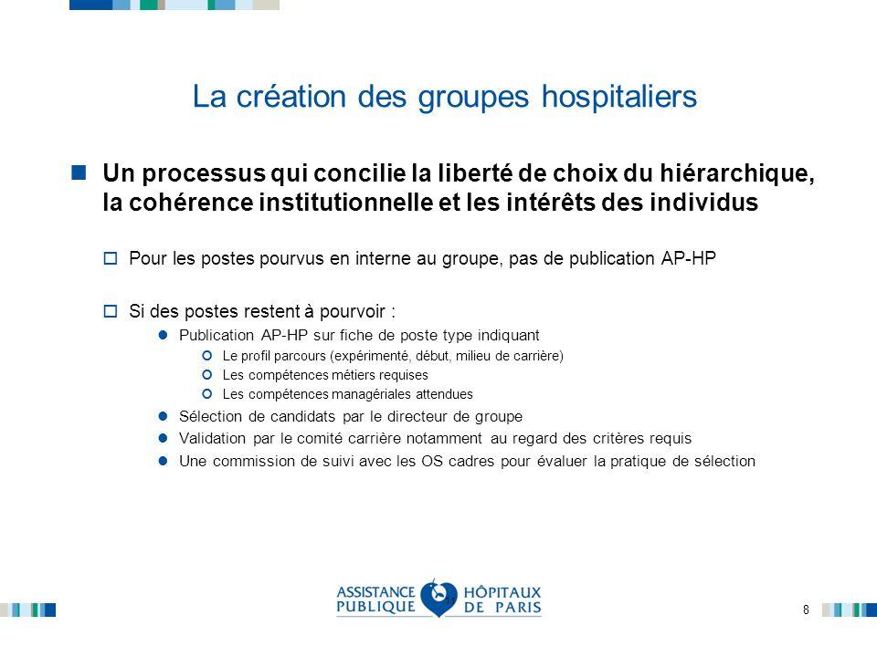 8 La création des groupes hospitaliers Un processus qui concilie la liberté de choix du hiérarchique, la cohérence institutionnelle et les intérêts de