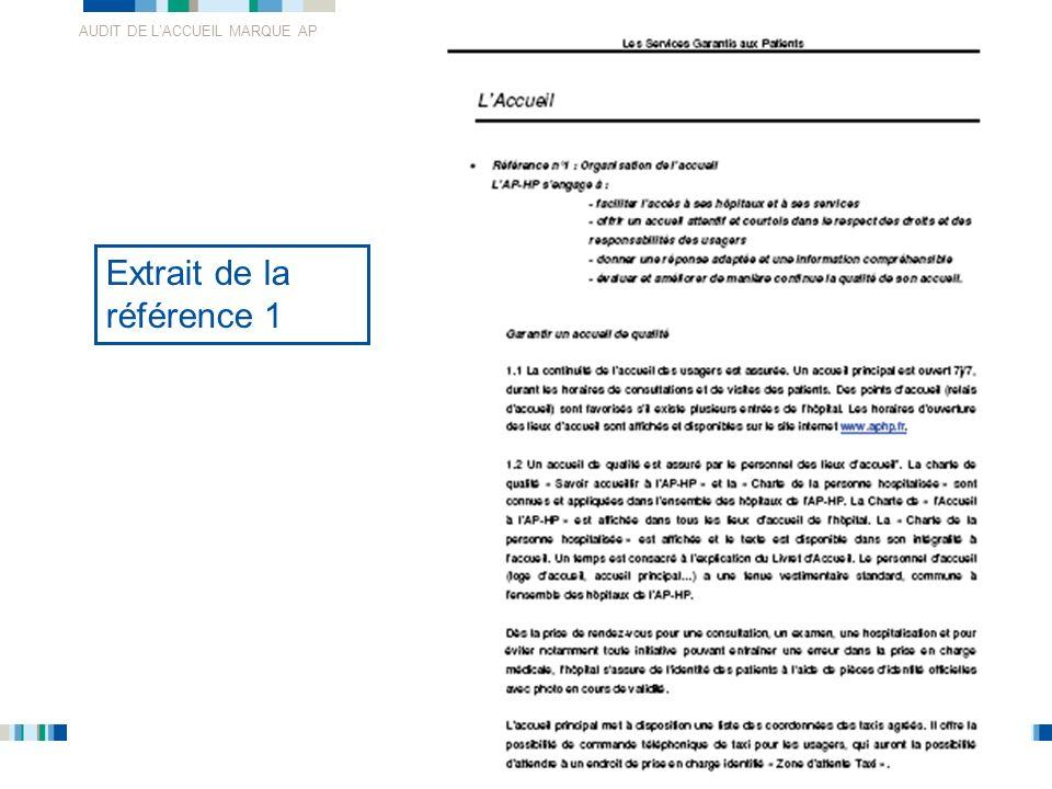 AUDIT DE LACCUEIL MARQUE AP 13 Extrait de la référence 1