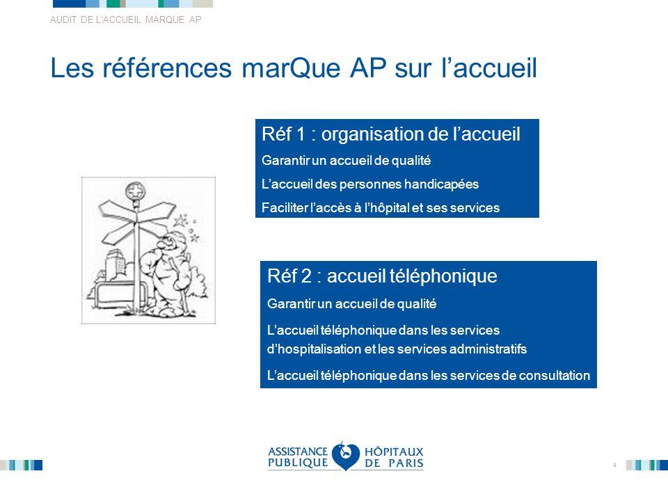 AUDIT DE LACCUEIL MARQUE AP 5 Les audits de laccueil Pour modifier les textes : Menu « Affichage », « Masque », « Masque des diapositives ».