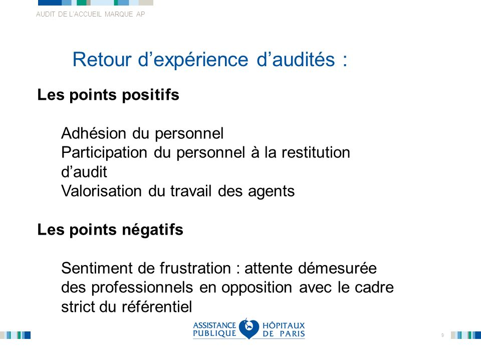 AUDIT DE LACCUEIL MARQUE AP 9 Retour dexpérience daudités : Les points positifs Adhésion du personnel Participation du personnel à la restitution daud
