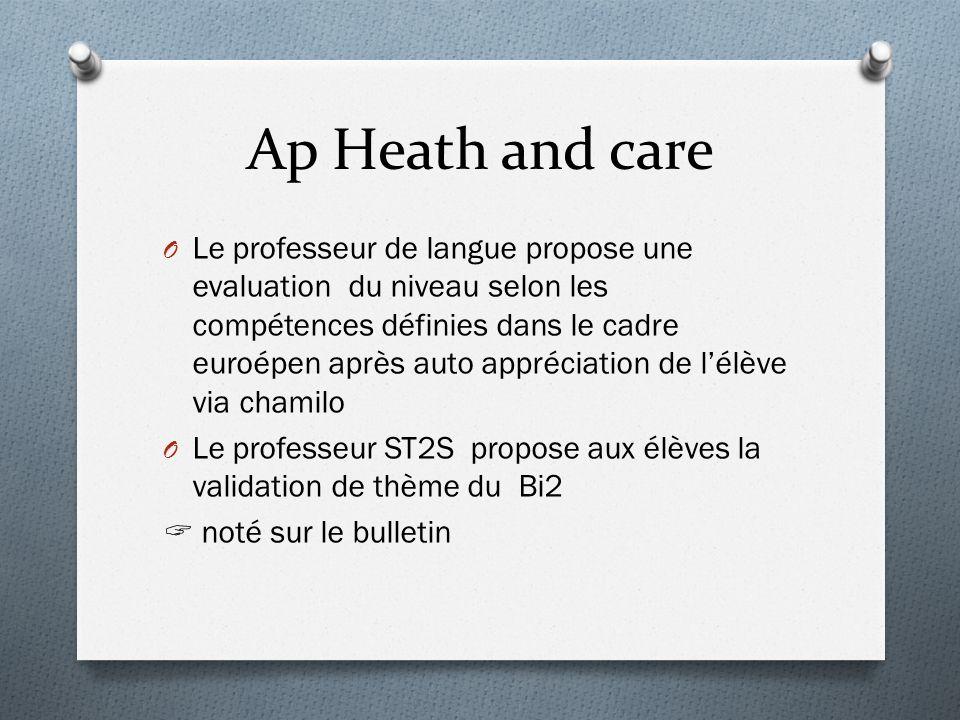 Ap Heath and care O Le professeur de langue propose une evaluation du niveau selon les compétences définies dans le cadre euroépen après auto apprécia