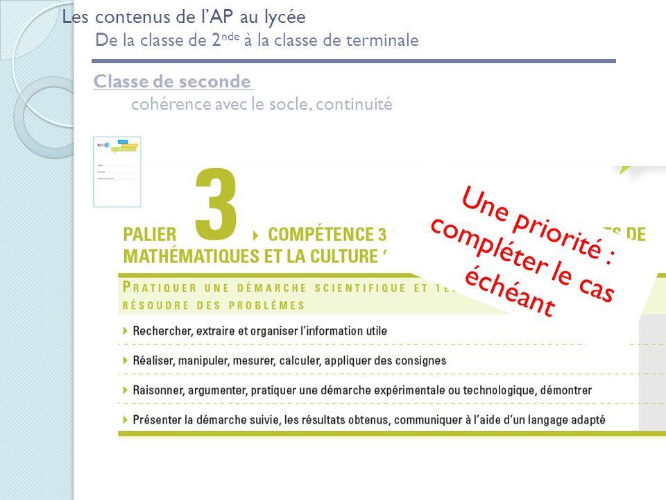 Classe de seconde cohérence avec le socle, continuité Une priorité : compléter le cas échéant Les contenus de lAP au lycée De la classe de 2 nde à la classe de terminale