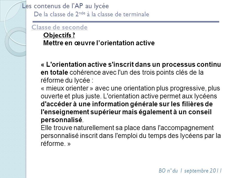 Classe de seconde Objectifs ? Mettre en œuvre lorientation active Les contenus de lAP au lycée De la classe de 2 nde à la classe de terminale « L'orie