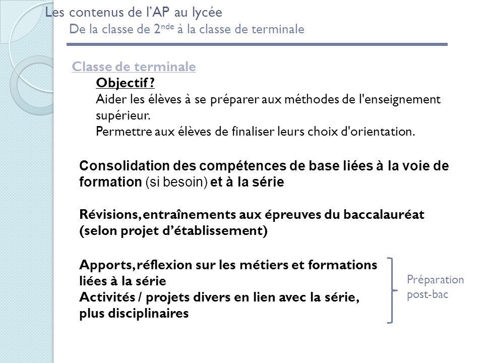 Les contenus de lAP au lycée De la classe de 2 nde à la classe de terminale Classe de terminale Objectif .