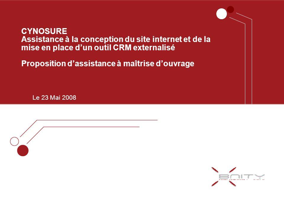CYNOSURE Assistance à la conception du site internet et de la mise en place dun outil CRM externalisé Proposition dassistance à maîtrise douvrage Le 2