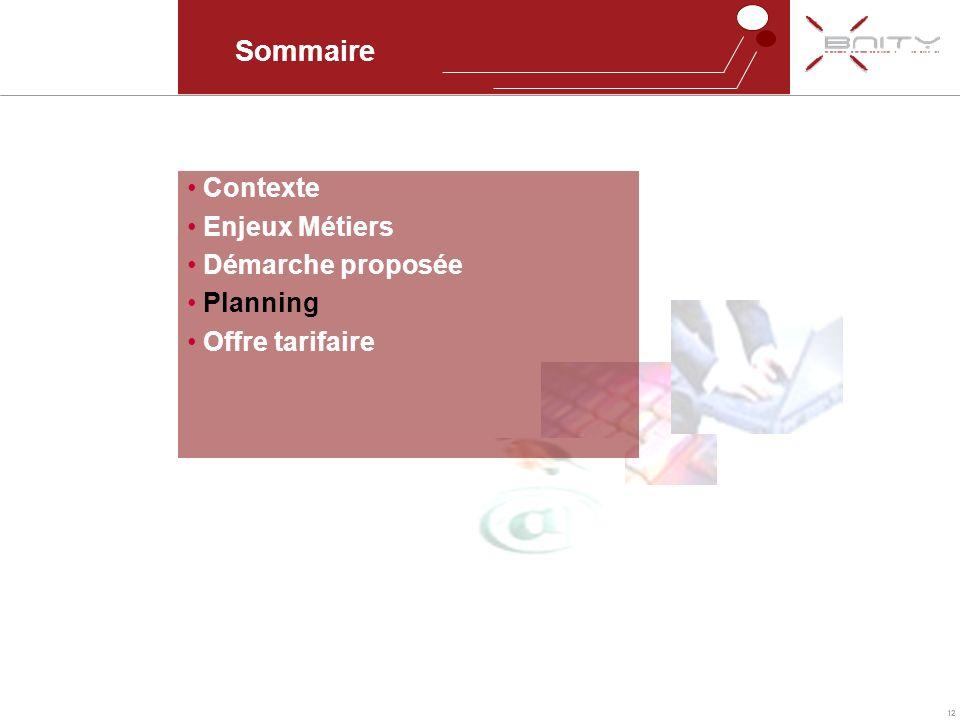 12 Sommaire Contexte Enjeux Métiers Démarche proposée Planning Offre tarifaire