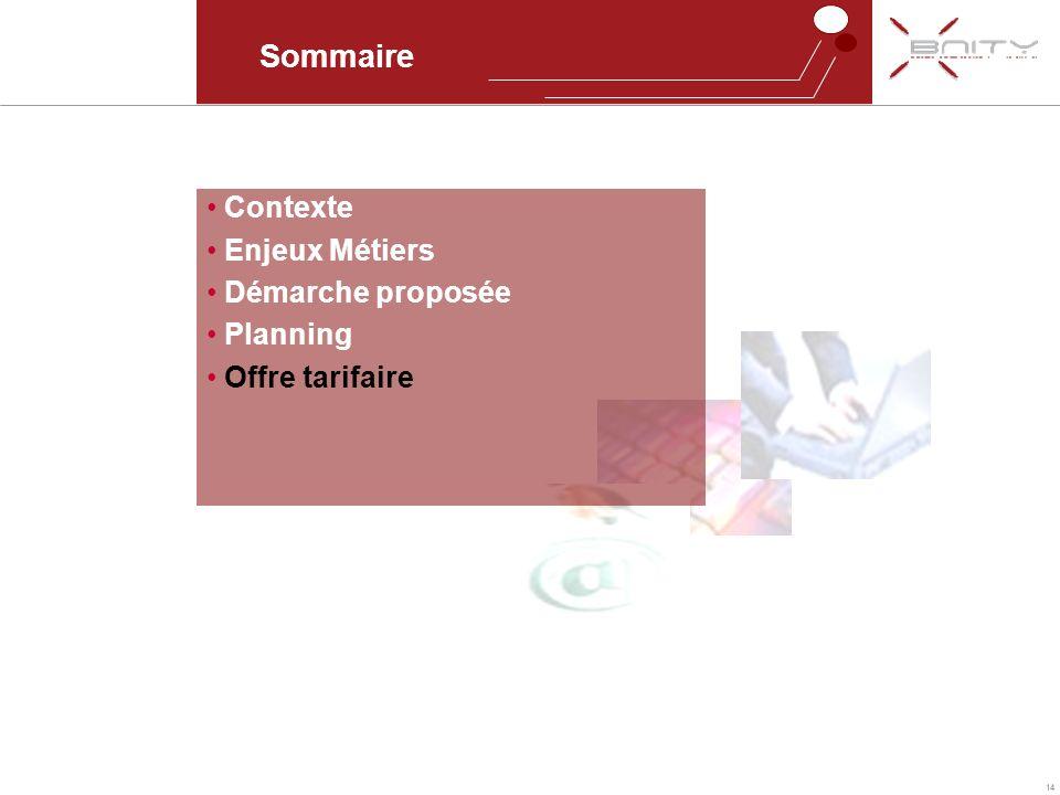 14 Sommaire Contexte Enjeux Métiers Démarche proposée Planning Offre tarifaire