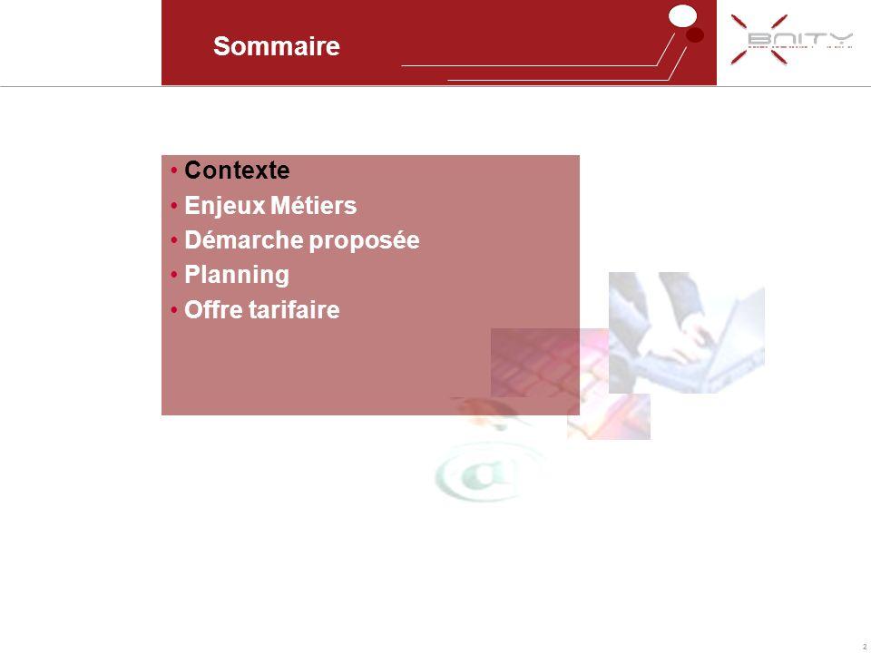 2 Sommaire Contexte Enjeux Métiers Démarche proposée Planning Offre tarifaire