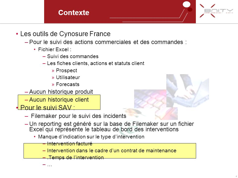 4 Contexte Les outils de Cynosure France –Pour le suivi des actions commerciales et des commandes : Fichier Excel : –Suivi des commandes –Les fiches c