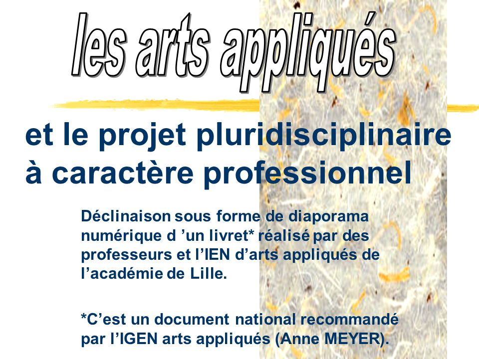 Objectifs généraux zInformer sur le projet pluridisciplinaire à caractère professionnel et positionner les arts appliqués dans ce projet.