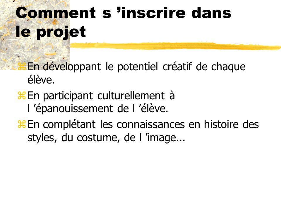 Comment s inscrire dans le projet zEn développant le potentiel créatif de chaque élève. zEn participant culturellement à l épanouissement de l élève.